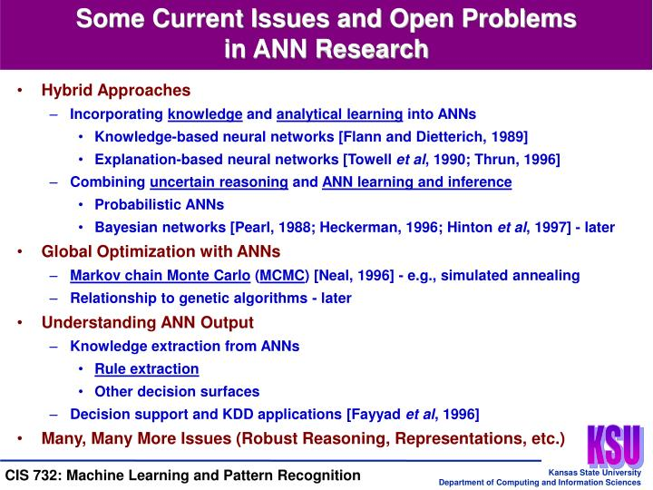 Some Current Issues and Open Problems