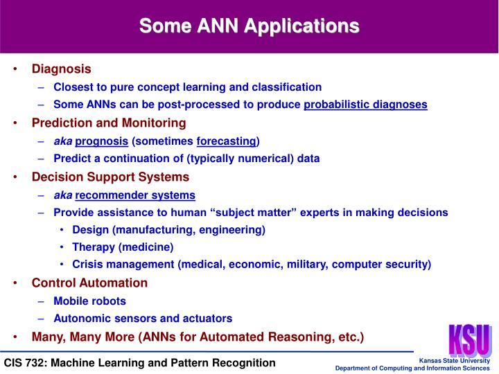 Some ANN Applications
