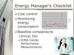 energy manager s checklist