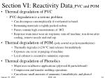 section vi reactivity data pvc and pom