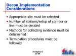 decon implementation considerations
