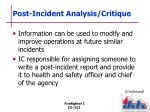 post incident analysis critique1