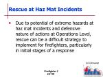 rescue at haz mat incidents
