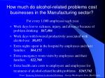 how much do alcohol related problems cost businesses in the manufacturing sector