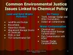 common environmental justice issues linked to chemical policy