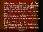 what can low income people do