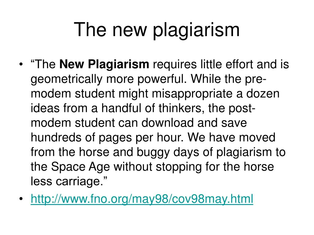 The new plagiarism