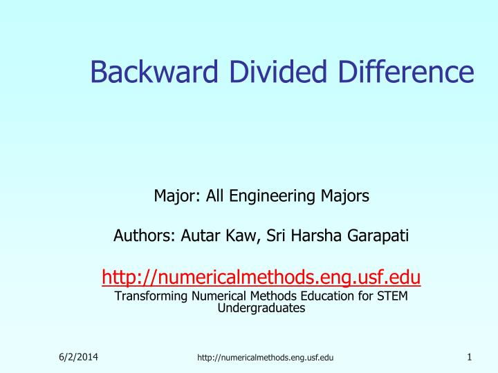 backward divided difference n.