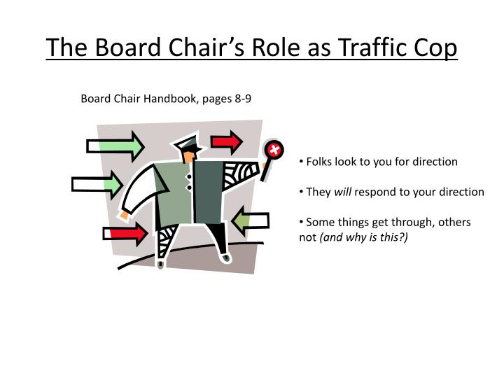 the board chair s role as traffic cop n.