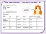 ham ham s hammy club customer record1