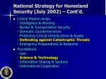 national strategy for homeland security july 2002 cont d