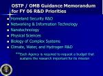 ostp omb guidance memorandum for fy 06 r d priorities