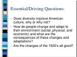 essential driving questions
