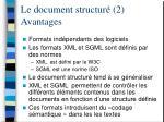 le document structur 2 avantages