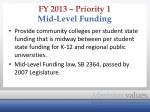 fy 2013 priority 1 mid level funding