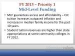 fy 2013 priority 1 mid level funding1