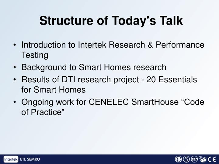 Structure of today s talk