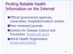 finding reliable health information on the internet