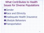 what contributes to health issues for diverse populations