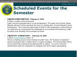 scheduled events for the semester