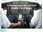 lessons from the cockpit check list design