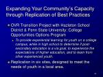 expanding your community s capacity through replication of best practices