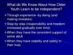 what do we know about how older youth learn to be independent