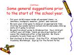 continue some general suggestions prior to the start of the school year