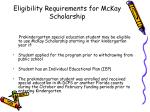 eligibility requirements for mckay scholarship