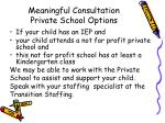 meaningful consultation private school options