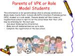 parents of vpk or role model students
