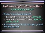 authority applied through word 1 corinthians 1 13 171