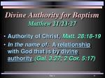 divine authority for baptism matthew 21 23 27