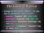 the action of baptism