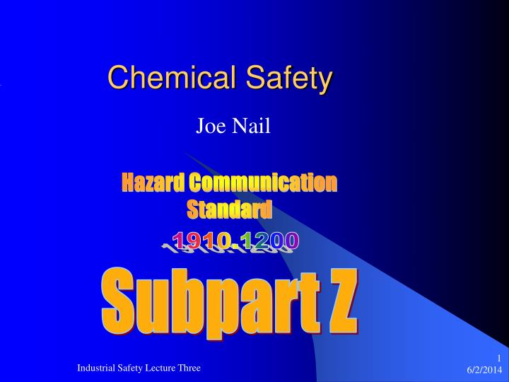 chemical safety n.