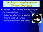 employer requirements written program
