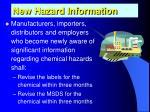 new hazard information