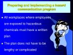 preparing and implementing a hazard communication program