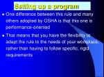 setting up a program1