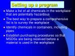 setting up a program2