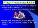 written program availability