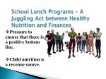 school lunch programs a juggling act between healthy nutrition and finances