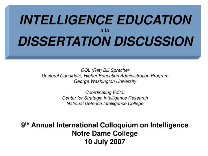 intelligence education a la dissertation discussion n.