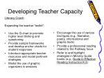developing teacher capacity