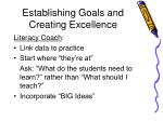 establishing goals and creating excellence
