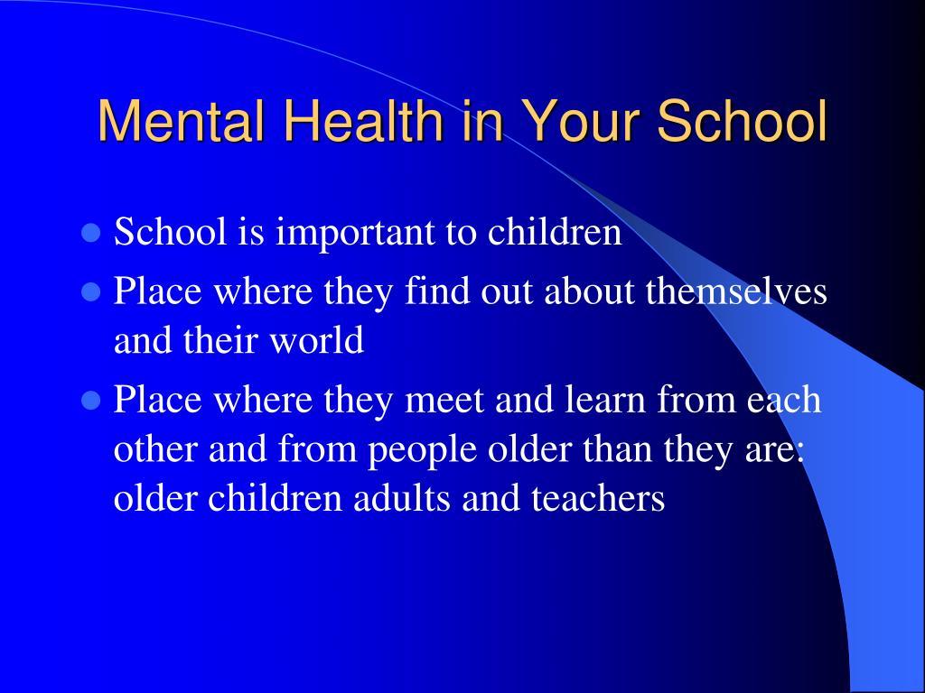 mental health in your school l.