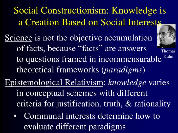 social constructionism knowledge is a creation based on social interests n.