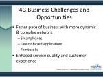 4g business challenges and opportunities