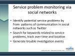 service problem monitoring via social networks