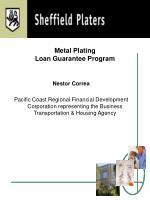 metal plating loan guarantee program